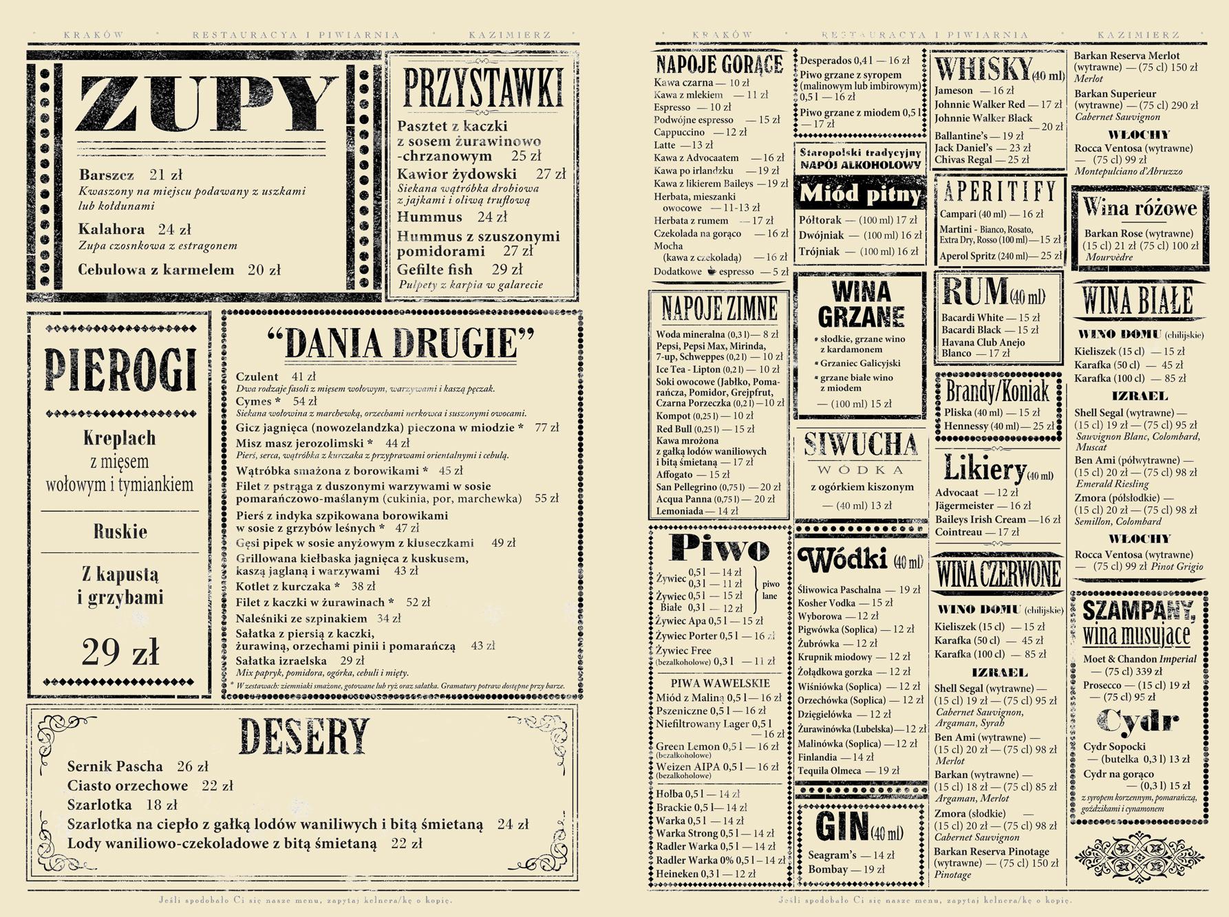 menu po polsku